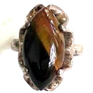 SANCHEZ Sterling Silver Tiger's Eye Ring VINTAGE